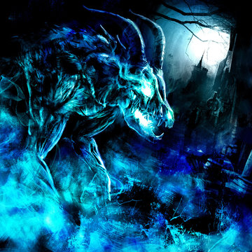 A creepy undead with a skull of an animal, horned and muscular, rises from the grave at the full moon, shrouded in an icy mystical blue fog, against the background of a Gothic castle. 2D illustration