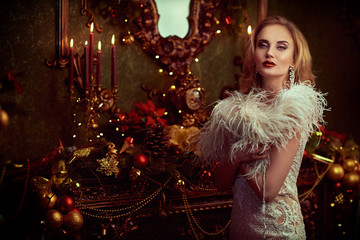 gorgeous blonde in Christmas interior Wall mural