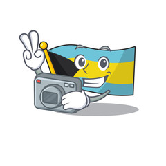Flag bahamas cartoon with in photographer character