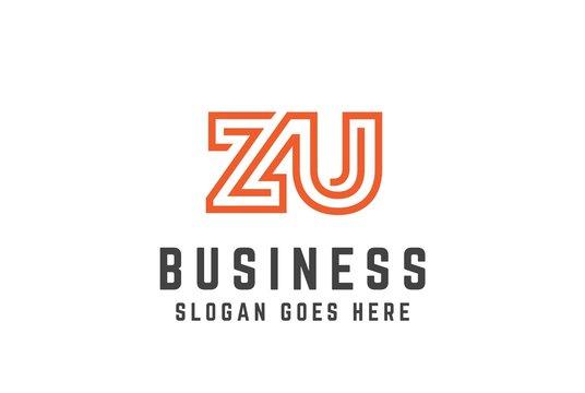 Orange initial letter ZU logo vector template