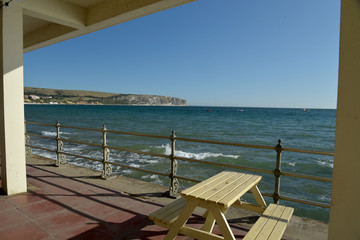 The seafront at Swanage on the Dorset coast in Southern England, seen from a cafe