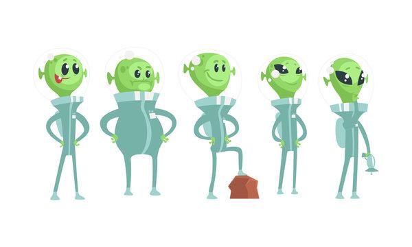 Cartoon Alien Characters Wearing Space Costume Vector Set