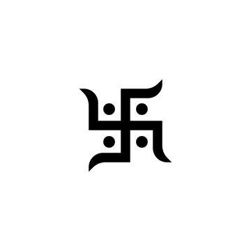 Swastika, hinduism symbol in vector
