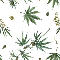 Beautiful watercolor medical marijuana seamless pattern. Natural therapeutic drug.
