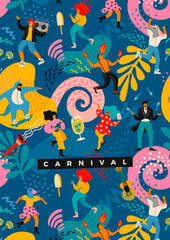 Hello Carnival. Vector illustration of funny dancing men and women in bright modern costumes.