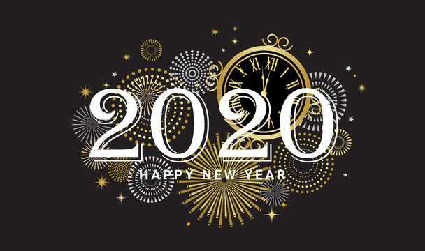 Happy New Year 2020 - New Year Shining background with gold clock and glitter