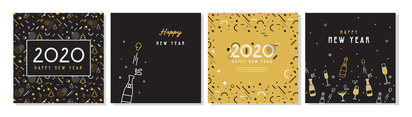 Happy New Year- 2020 . Collection of greeting background designs, New Year, social media promotional content. Vector illustration Fototapete