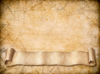 Wall Mural - Old map background with blank scroll paper banner