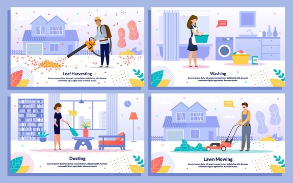 Commercial Housework Services Flat Vector Banners
