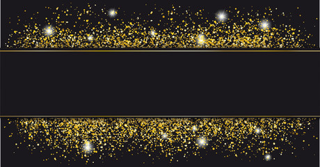 Black Paper Banner Golden Sand