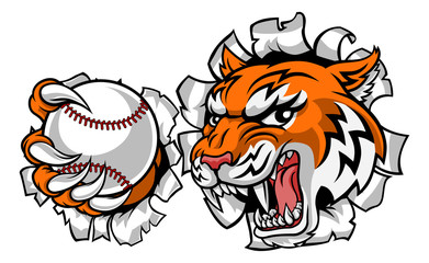 A tiger baseball player cartoon animal sports mascot holding a ball in its claw