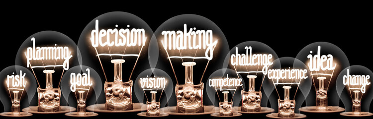 Light Bulbs with Decision Making Concept