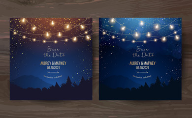 Magic night wedding lights vector design invitations Wall mural