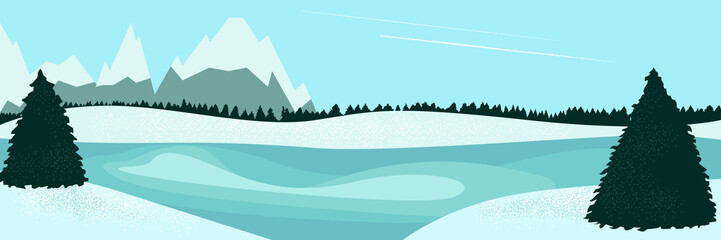 Door stickers Pool landscape winter lake and fir trees
