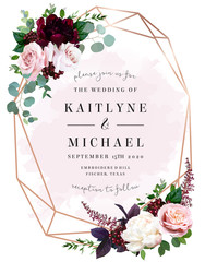 Luxury fall flowers wedding vector bouquet card.