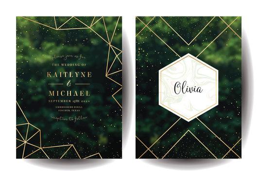 Green garden trees wedding invitation.