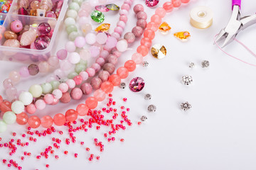 Rose cherry pink quartz beads