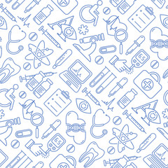 Vector medicine and health design seamless pattern with modern linear icons. Medical background contains line style symbols.