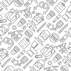 Diabetes symptoms and control vector line style seamless background. Frequent urination, blurry vision, sexual problems, high blood sugar, hungry, linear illustration. Diabetic blue icons on white.