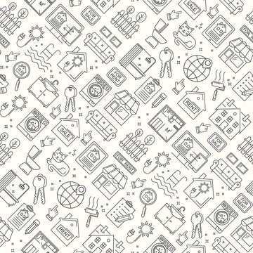 Seamless real estate line style pattern. Vector linear background with sale and rent buildings, house, flat and room.
