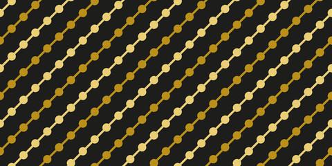 Gold black circle garland seamless pattern vector
