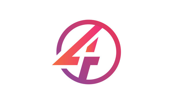 logo icon circle letter 4 vector