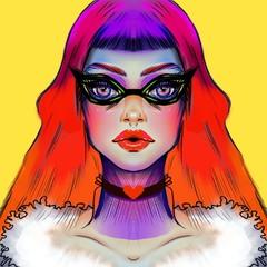Illustrazione digitale di giovane con occhiali