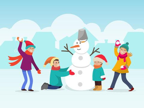 Children making snowman vector illustration. Two child make snow man, other playing snowballs. Winter fun