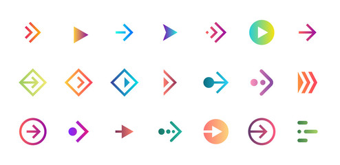 Swipe arrow right gradient button icon set. Application and social network scroll pictogram for web design or app. Vector flat modern next direction pointer ui interface collection illustration