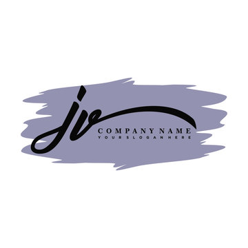 JV handwritten logo vector template. with a gray paint background, and an elegant logo design