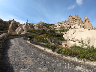 Panorama of Uchisar from Pigeon Valley. Cappadocia. Turkey