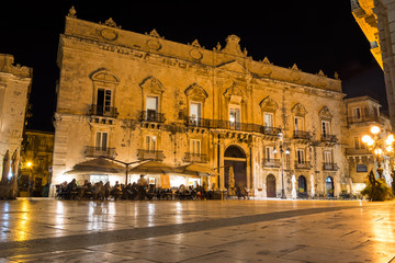 Night shot of square and baroque building in beautiful ancient Italian city (Syracuse) on the island of Sicily