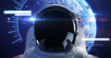 Astronaut Looks At The Empty Space. Planet Earth Is Orbiting On Background. Technology Related 3D Illustration Render
