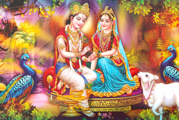 Indian Lord Beautiful Radha Krishna Wallpaper and Colorful Background
