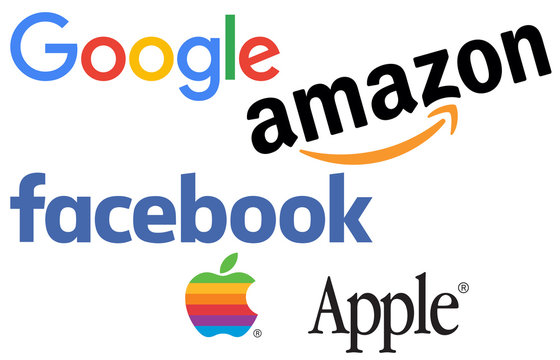 Collection of logos printed on white paper of the 4 largest digital companies also known by the acronym GAFA