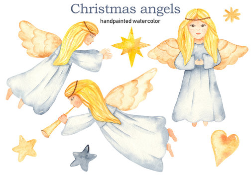 Christmas cute girls angels watercolor clipart hand painted, star of Bethlehem, yellow anf blue stars, heart