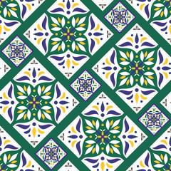 Parquet floor tile pattern vector seamless with ceramic print. Vintage mosaic motif texture. Arabic majolica background for kitchen floor or bathroom floor wall.