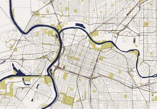 map of the city of Sacramento, USA