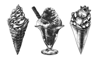 Vector engraved vintage style illustrations for posters, decoration, logo and menu. Hand drawn sketches set of ice cream cone, Hong Kong waffle and sundae ice cream in monochrome on white background.
