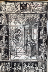 Foto op Aluminium Imagination The Annunciation, page of medieval missal