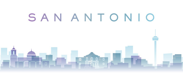 San Antonio Transparent Layers Gradient Landmarks Skyline