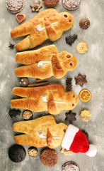 stutenkerl or weckmann. baked traditional german pastery.