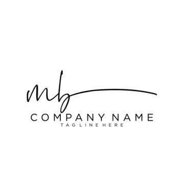 Initial letter MB Signature handwriting Logo Vector