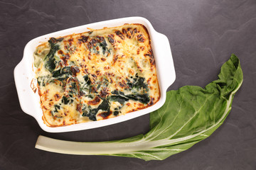 Wall Mural - baked chard gratin with cheese and cream