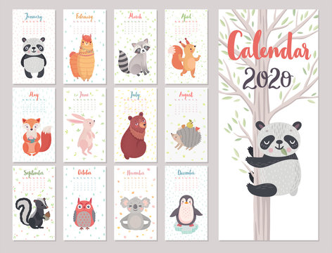 Calendar 2020 with Animals . Cute forest characters. Vector illustration.