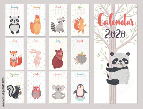 Wall mural Calendar 2020 with Animals . Cute forest characters. Vector illustration.