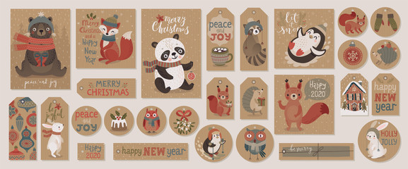 Wall Mural - Christmas kraft paper cards and gift tags set, hand drawn style.