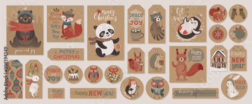 Canvas Prints Christmas kraft paper cards and gift tags set, hand drawn style.