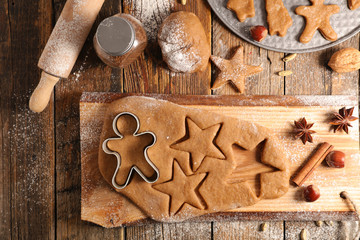 cooking christmas cookies, gingerbread biscuit
