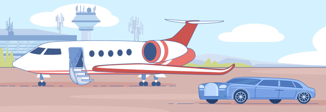Personal Business Jet on Airport Runaway Vector